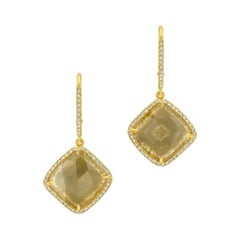 Green Yellow Diamond Slice Earrings with Pave Diamond Halo in 18k Yellow Gold