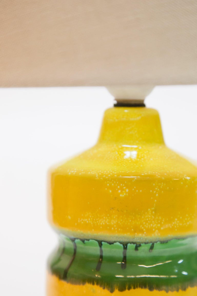 Hungarian Green-Yellow Glazed Ceramic Table Lamp, 1970s For Sale