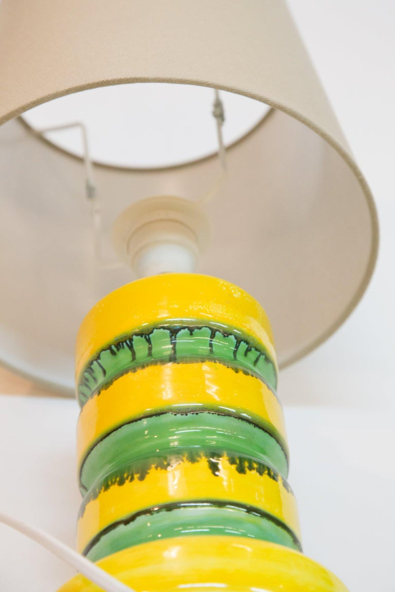 Late 20th Century Green-Yellow Glazed Ceramic Table Lamp, 1970s For Sale