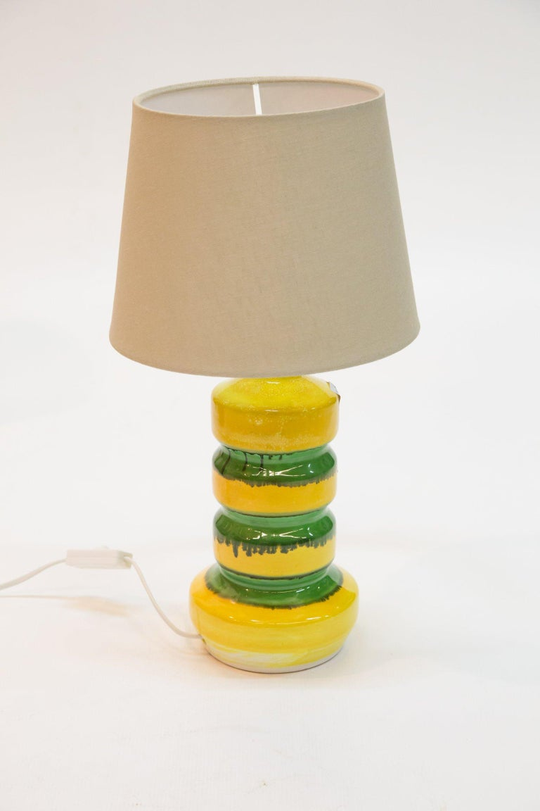Green-Yellow Glazed Ceramic Table Lamp, 1970s For Sale 1