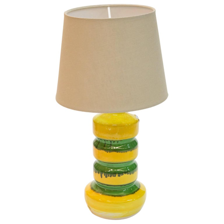 Green-Yellow Glazed Ceramic Table Lamp, 1970s For Sale