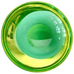 Green & Yellow Murano Sommerso Glass Bowl Antonio Da Ros for Cenedese Attributed