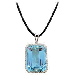 Greenish-Blue Aquamarine and Diamond Pendant