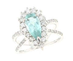 Greenish Blue Pear Tourmaline Ring with Diamonds, White Gold