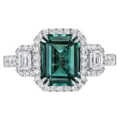 Greenish Blue Teal Sapphire Ring 2.92 Carat Emerald Cut