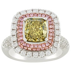 Greenish Yellow Diamond Ring, 2.01 Carats