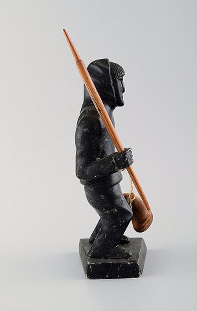 Greenlandica, figure of catcher carved in soap stone. In Good Condition For Sale In Copenhagen, Denmark