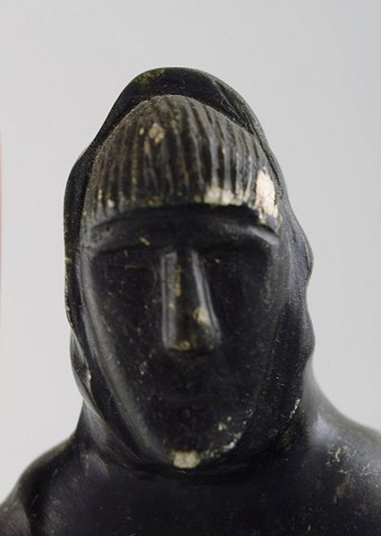 Soapstone Greenlandica, figure of catcher carved in soap stone. For Sale