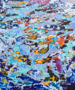 You're Here - Abstracted encaustic painting in blues, purples and orange.