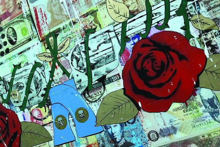 Guns N' Roses, Mixed Media on Wood Panel - Pop Art Mixed Media Art by Greg Beebe
