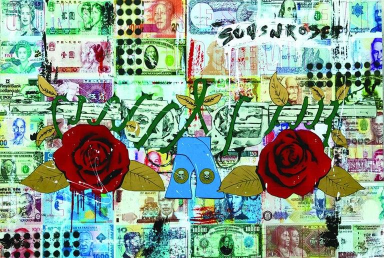 Guns N' Roses, Mixed Media on Wood Panel - Mixed Media Art by Greg Beebe