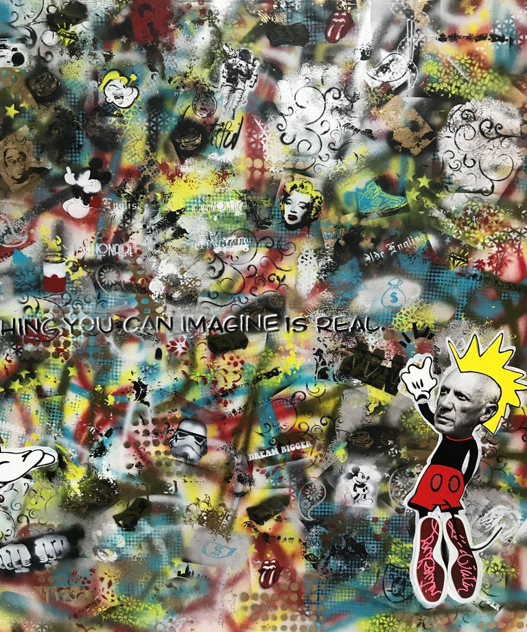 Leveraging photos of Marilyn Monroe and Pablo Picasso, the piece integrates a large number of hand made stencils creating a background of chaos and imagination running wild.  Acrylics, spray paints on canvas and resin cover.    :: Mixed Media ::