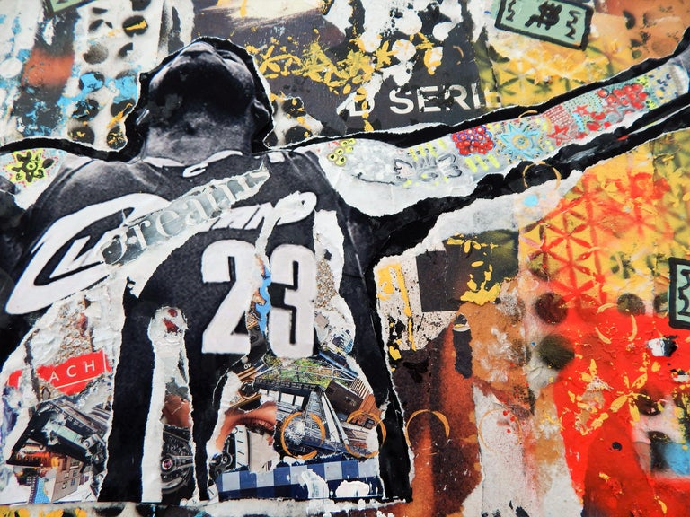 Iconic image of Lebron James pre-game warm up.  Collage materials including street posters from Wynwood Miami, acrylics, spray paints on wood board and resin cover.  Mixed media on wood and resin finish   :: Mixed Media :: Pop-Art :: This piece