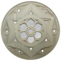 Greg Copeland Three-Dimensional Wall Sculpture Disk Mirror 1970s 3-D Geometric