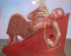 Easter (Figurative Painting of Reclining Man in a Boat with Guitar)