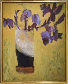 Irises: Abstract Still Life Painting of Purple Flowers on Dark Yellow Background