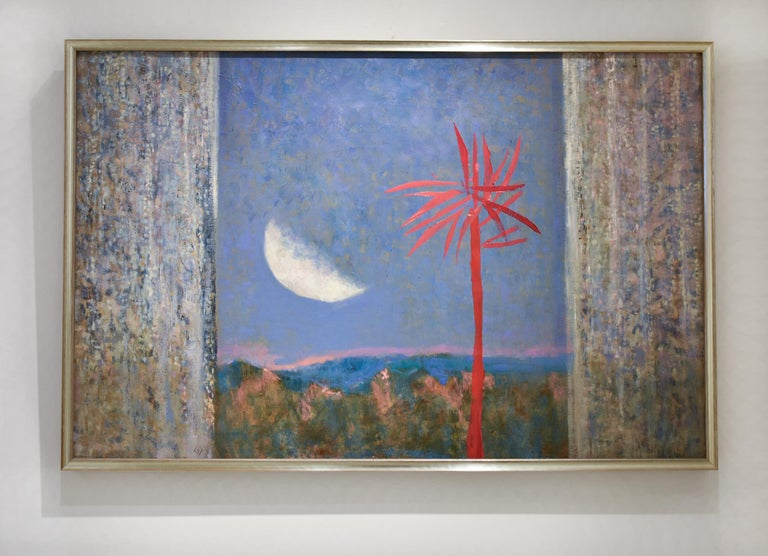 Red Tree: Abstract Landscape Painting of Blue Sky with Moon & Fuchsia Palm Tree  For Sale 1