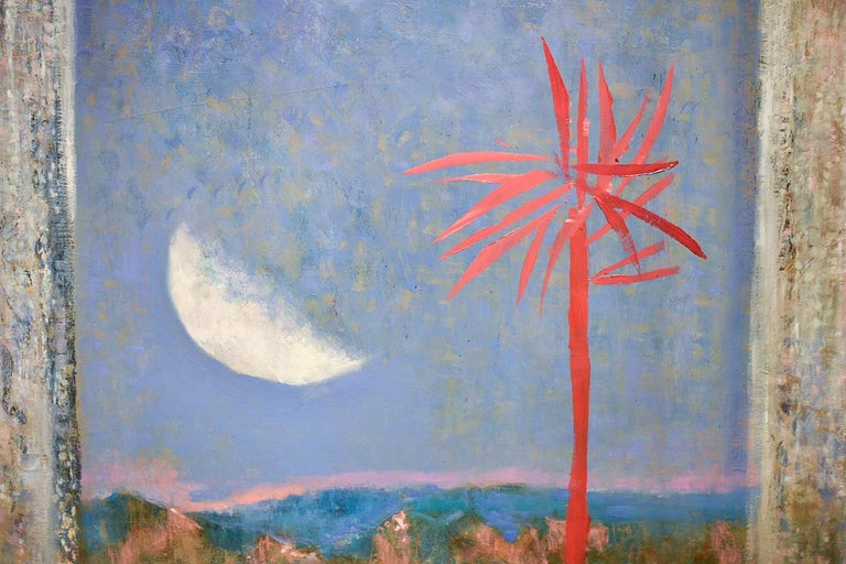 Red Tree: Abstract Landscape Painting of Blue Sky with Moon & Fuchsia Palm Tree  For Sale 3