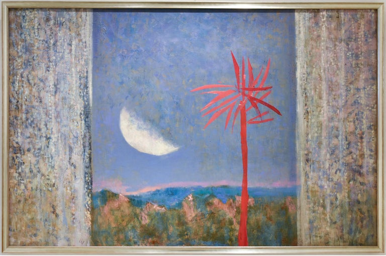 Abstract landscape painting of a red-fuchsia colored tree against a periwinkle blue sky with a large white moon Oil on panel in a pale gold Larson Juhl wood veneer frame  28.5 x 43 inches framed Artist's signature is located on the back Sturdy wire
