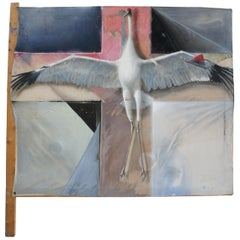 Greg Glazier Mixed-Media Oil on Canvas Painting Crucified Sandhill Crane Stork