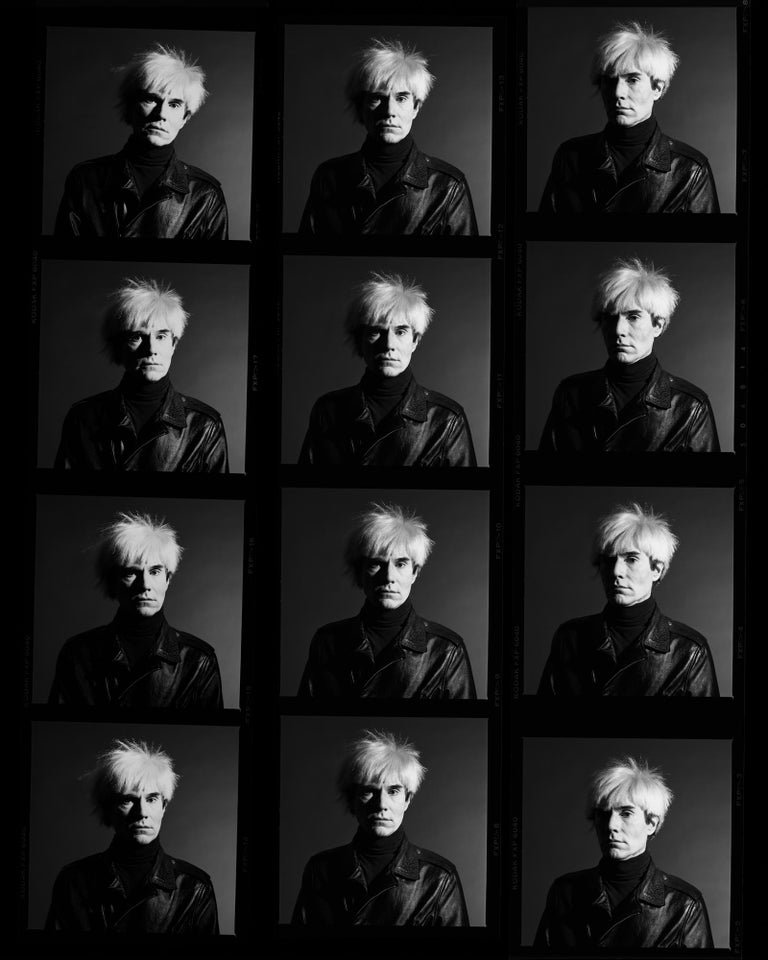 Greg Gorman Black and White Photograph - Andy Warhol Contact sheet, LA, Contemporary, Celebrity, Photography