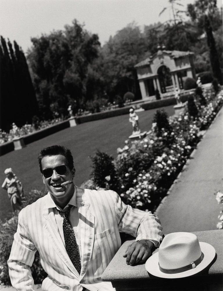 Greg Gorman Black and White Photograph - Arnold Schwarzenegger in the garden, Contemporary, Celebrity, Photography