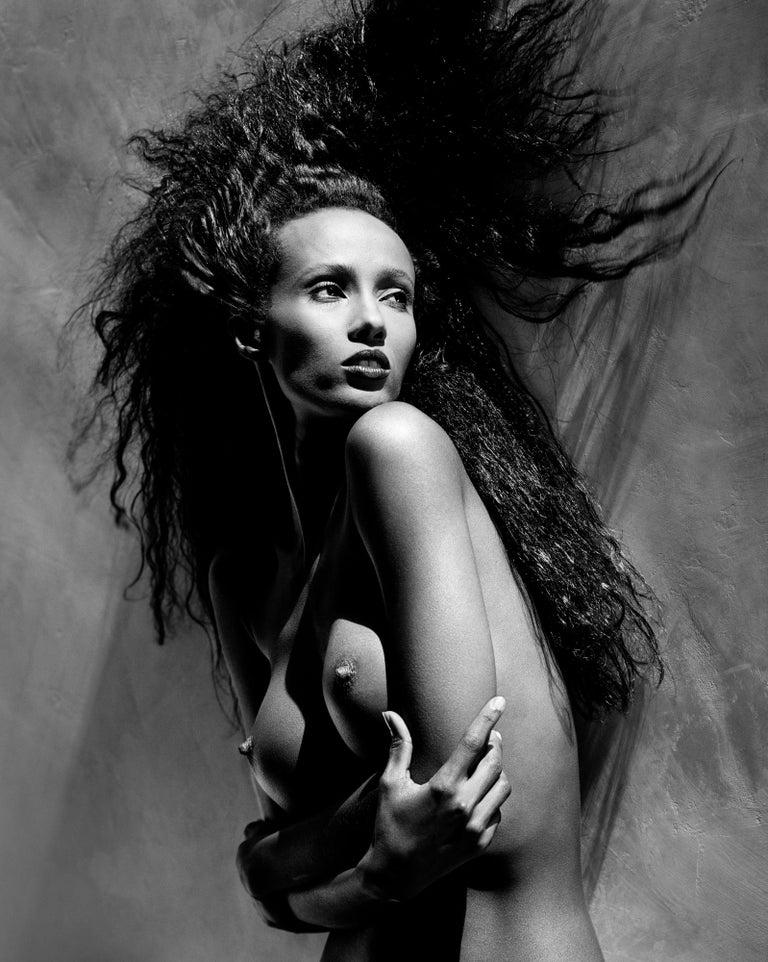 Greg Gorman Black and White Photograph - Iman, 21st Century, Contemporary, Celebrity, Photography