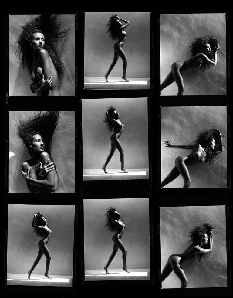 Greg Gorman Black and White Photograph - Iman Contact sheet, 21st Century, Contemporary, Celebrity, Photography