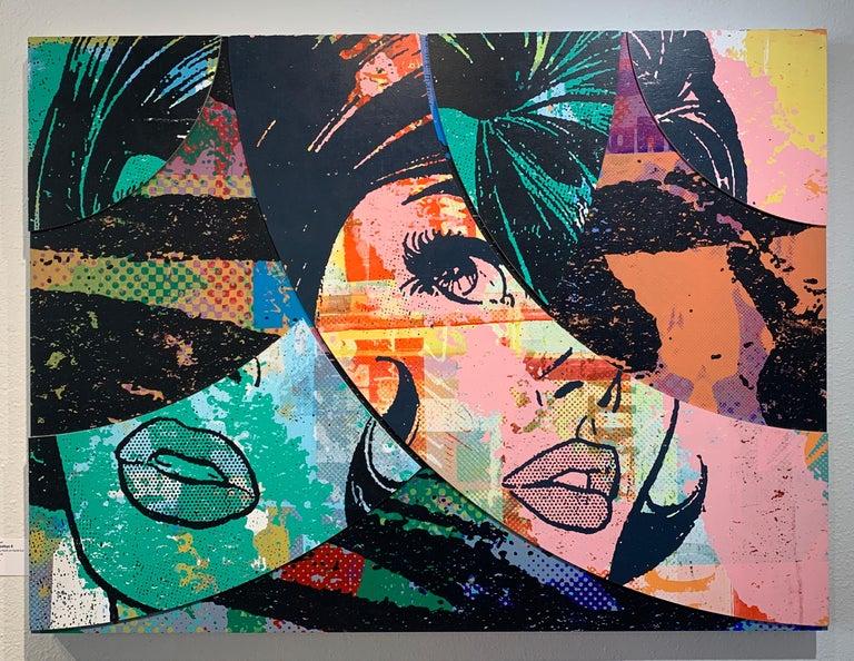 Hello & Goodbye #8, Greg Gossel Pop Art Comic Street Art Female 1950's - Mixed Media Art by Greg Gossel