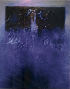 9-c27-2, large scale abstract cobalt blue painting with cursive writing