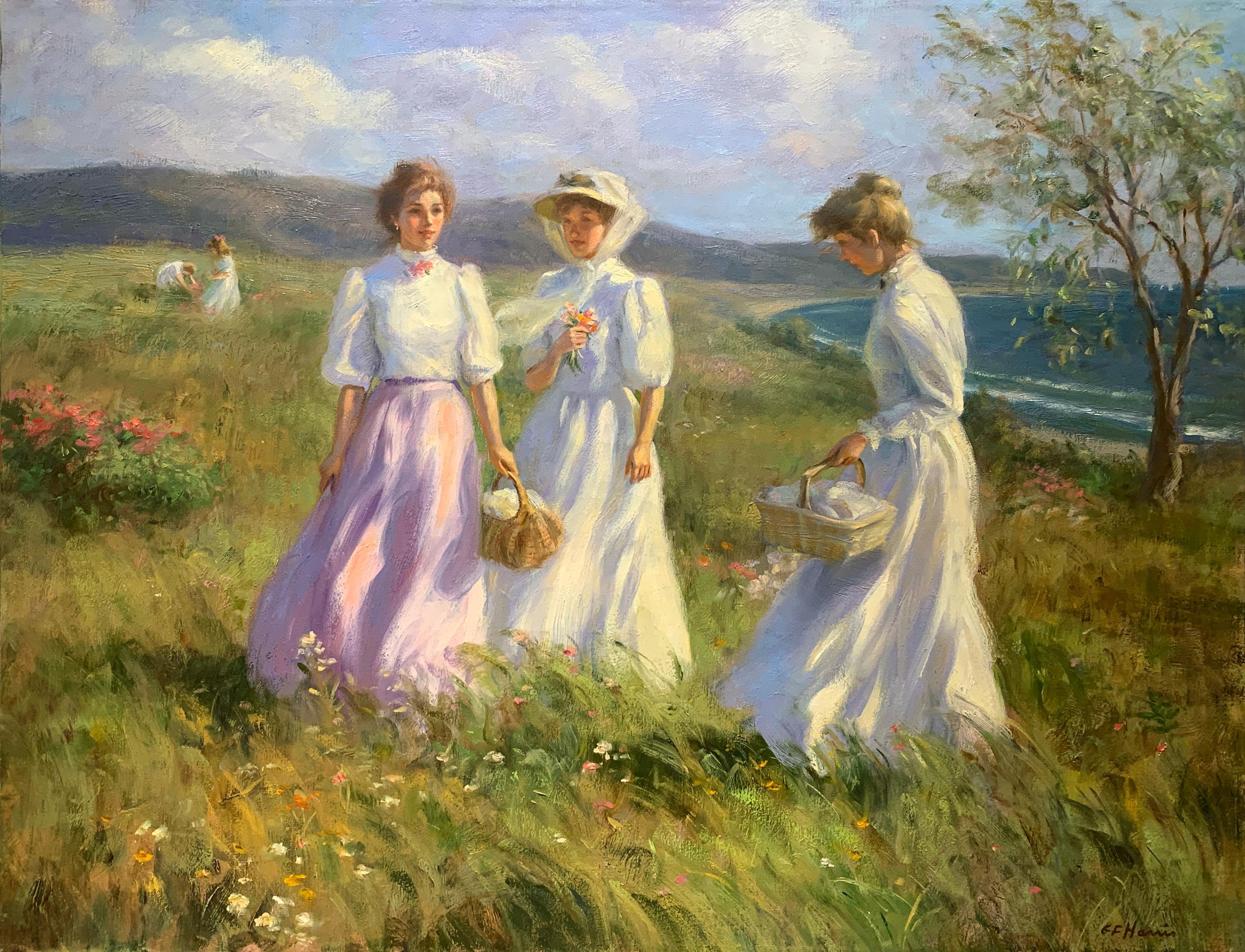 """""""A Hillside Picnic"""", Greg Harris, Original Oil, Figurative, Landscape, 24x30 in."""