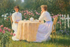 """Afternoon Tea"", Greg Harris, Original Oil, Figurative, Landscape, 24x36 in."