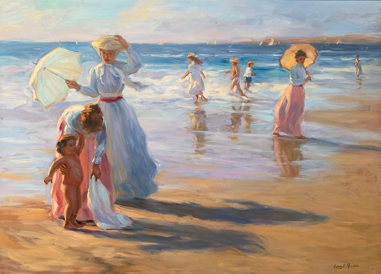 """On The Beach"", Greg Harris, Original Oil, Figurative, Landscape, 36x48 in. - Painting by Greg Harris"