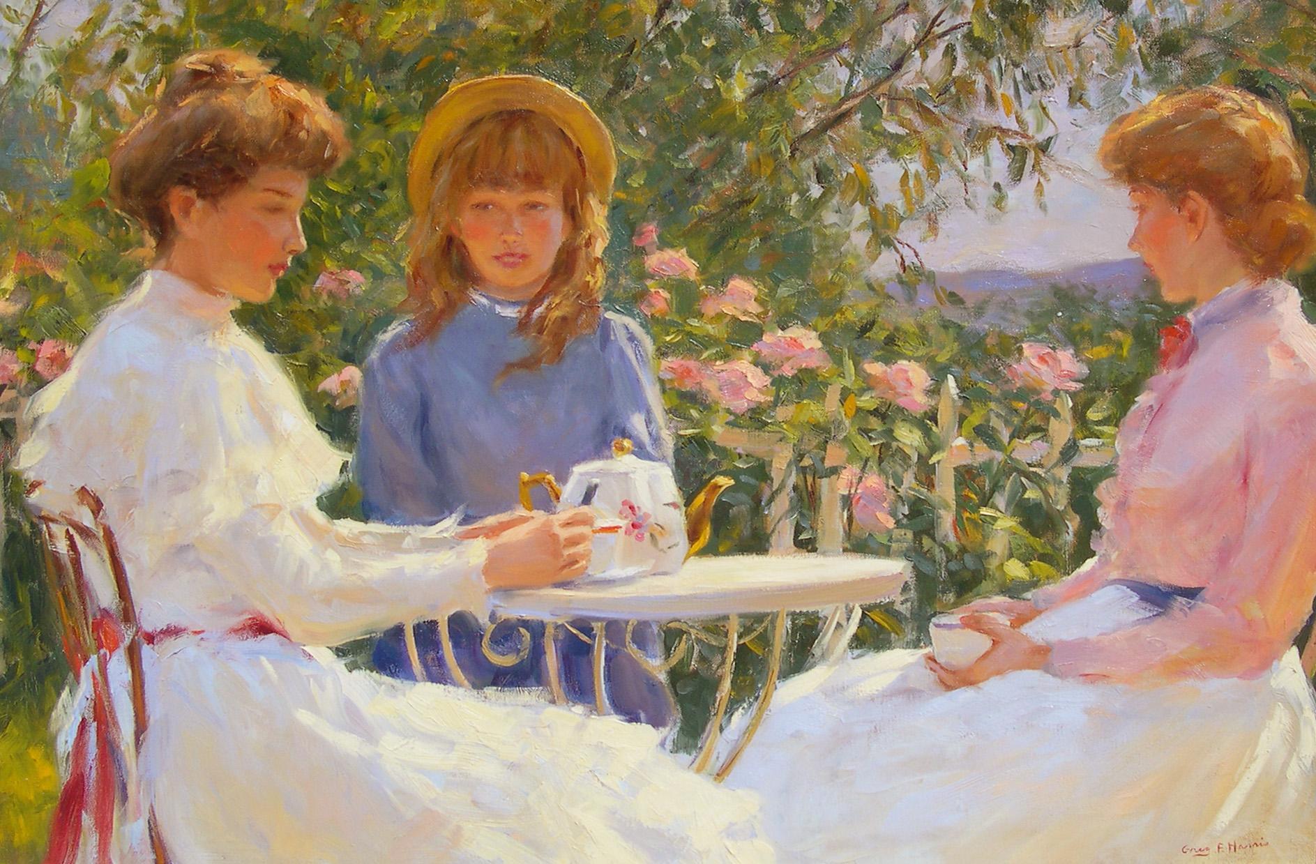 """Tea Party"", Greg Harris, Original Oil, Figurative, Landscape, 24x36 in."