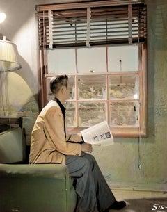 Boy at Window Looking at Tower