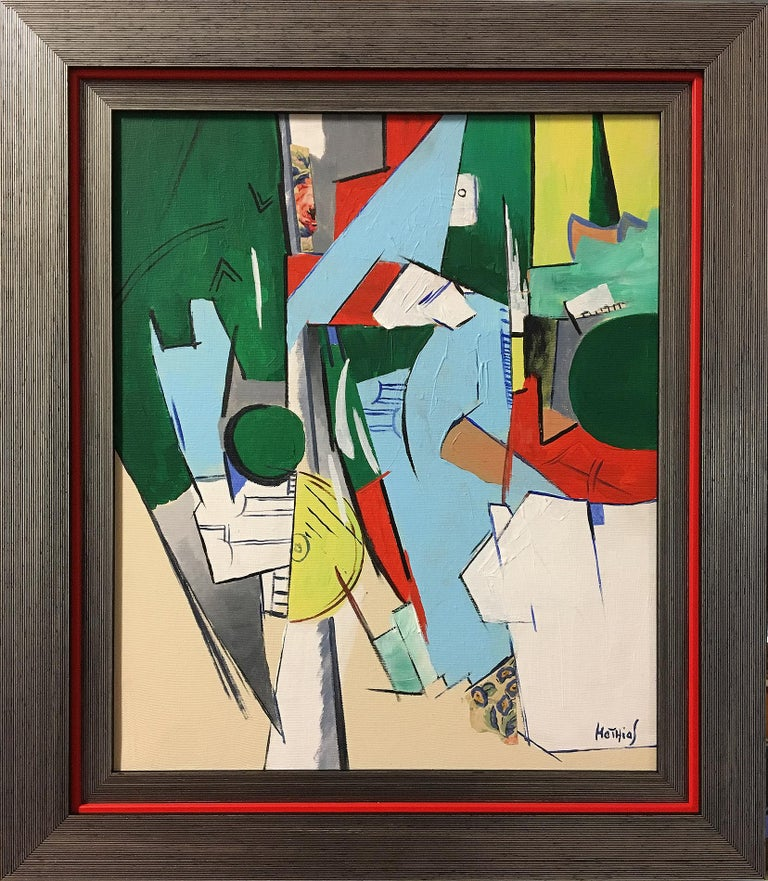French Greg Mathias Cubist Painting For Sale