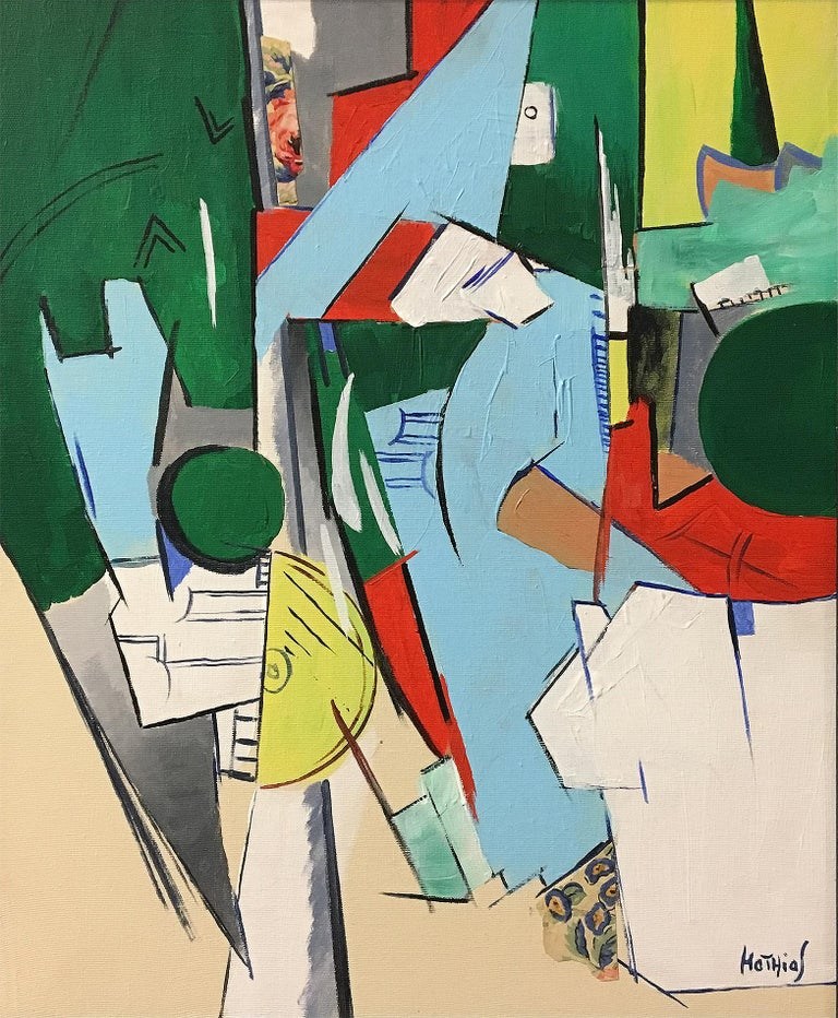 Greg Mathias Cubist Painting In Excellent Condition For Sale In Encino, CA
