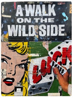 A Walk On The Wild Side_Greg Miller, 2021, Acrylic/Collage/Paper (Text, Pop Art)