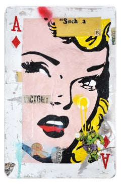 Ace (Victory)- Neo pop  ace of diamonds themed framed mixed media by Greg Miller