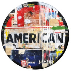 American, Greg Miller, Acrylic Paint, Paper Collage, Resin on Panel- Text