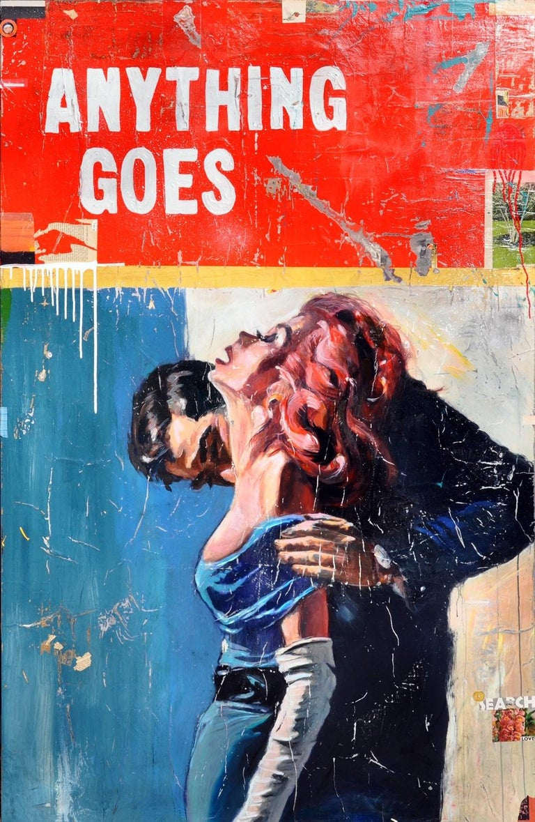 """Greg Miller """"Anything Goes"""" Acrylic, Collage Paper, Resin on Panel  70 x 45 in  Drawing from the diverse cultural and geographic makeup of his Californian roots, Greg Miller explores his relationship with the space he inhabits to communicate a"""
