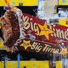 Big Time II, Greg Miller, Acrylic & Collage on Canvas-Reds, Yellow, Blues-text