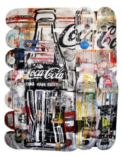 Coca Cola, Greg Miller, Acrylic/Spray Paint, Collage-Vintage Skateboards (Text)