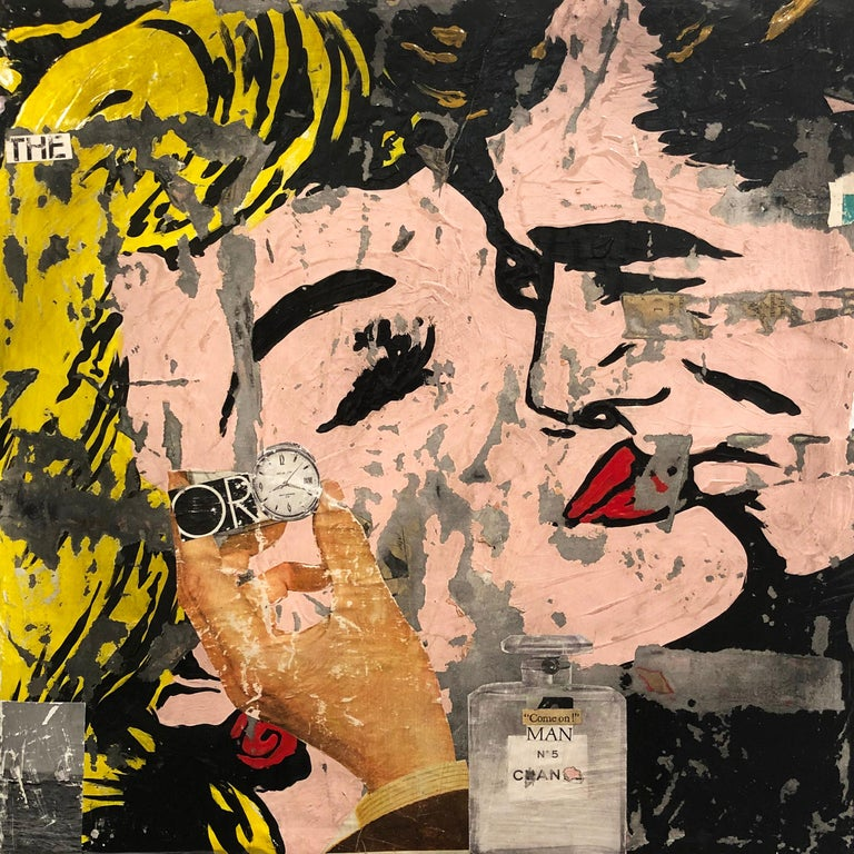 Come On, Greg Miller, Acrylic, Collage, Resin on Panel- Female Figurative-Text - Mixed Media Art by Greg Miller