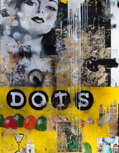 Dots, Greg Miller, 2020, Acrylic/Collage/Resin  (Figurative, Text, Yellow)