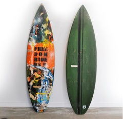 Freedom Riders, Greg Miller, Acrylic Paint, Paper Collage, Resin on Surfboard