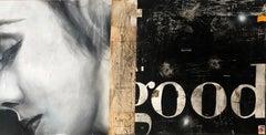Good, Greg Miller, 2020, Acrylic/Collage/Resin  (Black + White Figurative, Text)