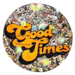 Good Times, Greg Miller, 2020, Acrylic, Collage, Resin on Panel- yellow text