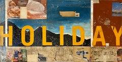 Holiday, 2021_Greg Miller, Acrylic, Collage, Gloss Varnish on Panel-Text
