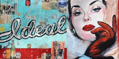 Ideal, Greg Miller, Acrylic, Collage, Resin on Panel (Female Figure, Text)
